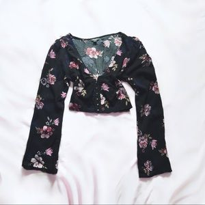 wild fable ⋆ floral crop top